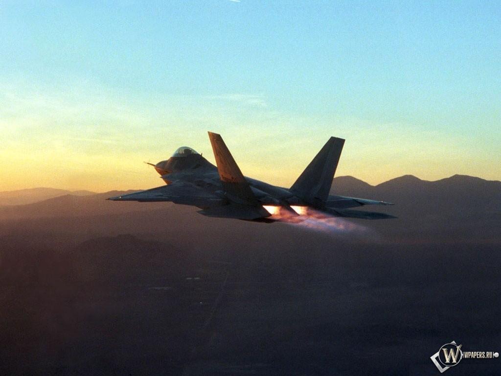 Истребитель F-22 Раптор 1024x768