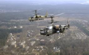 Обои Ка-52: Вертолет, Город, Полёт, Ка-52, Вертолёты