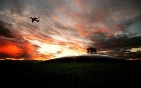Обои Взлет с аэропорта: Фото, Небо, Самолёт, Пейзаж, Прочая авиация