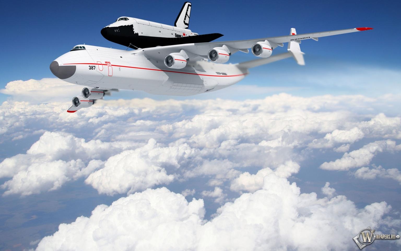 Самолет с челноком 1536x960