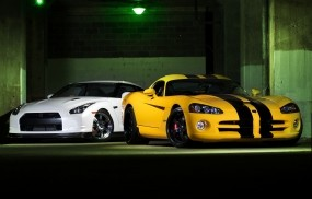 Обои Gtr and viper: Dodge Viper, Nissan GT-R, Автомобили