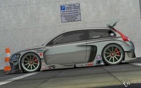 Обои Volvo C30 Racer серебристый сбоку: Volvo C30, 3D Авто