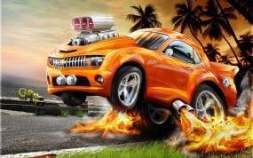 Обои Огненный Chevrolet: Огонь, Авто, Chevrolet, Графика, 3D Авто