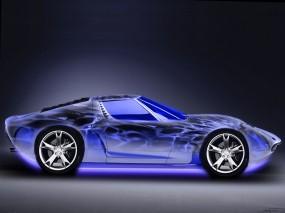 Обои Неоновый Авто: Неон, Синий, Тачка, 3D Авто