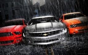Обои Мускул кары Muscle Cars: Дождь, Асфальт, Chevrolet Camaro, Dodge Challenger, Ford Mustang, Суперкар, Автомобили