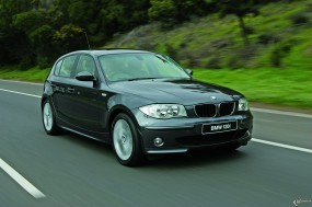 Обои BMW 1 - Series five door (2005): Чёрное авто, BMW 1, BMW five door, BMW