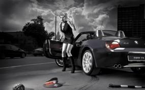 Обои Девушка и БМВ: Девушка, Блондинка, BMW Z4, Ситуация, Фуражка, Палка, BMW