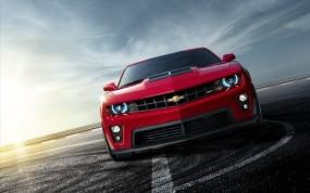 Обои Chevrolet camaro: Солнце, Асфальт, Красный, Chevrolet Camaro, Chevrolet