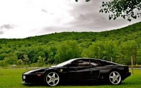 Обои Чёрный феррари: Чёрный, Ferrari, Травка, Ferrari