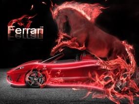 Обои Неоновый Ferrari: Неон, Пламя, Ferrari, Красный, Конь, Тачка, Ferrari