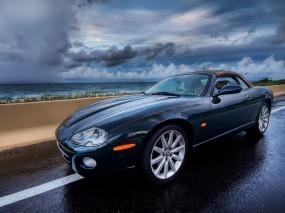 Обои Jaguar: Облака, Jaguar, Кабриолет, Авто, Дорога, Jaguar