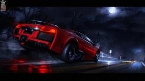 Обои Lamborghini Murcielago: Дождь, Lamborghini Murcielago, Красная, Lamborghini