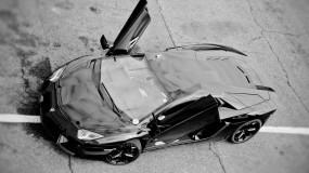 Обои Lamborghini: Дорога, Полоса, Lamborghini, Чёрная, Lamborghini
