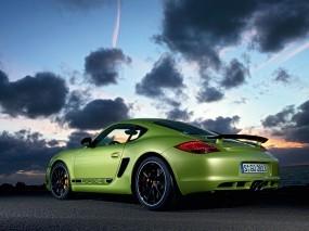 Обои Porsche Cayman: Облака, Порш, Зелёный, Porsche Cayman, Porsche