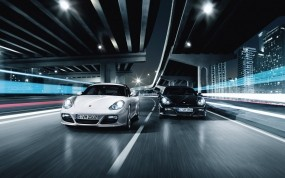 Обои два Porsche: Porsche Cayman, Porsche