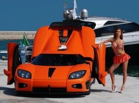 Обои Koenigsegg CCX с девушкой: Машина, Девушка, Суперкар, Koenigsegg CCX, Другие марки