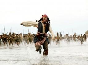 Обои Джек Воробей: Джонни Депп, Бег, Фильм, Пираты Карибского моря, Джек Воробей, Пираты карибского моря