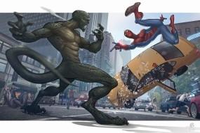Обои Человек-паук: Схватка, Ящерица, Человек-Паук, Мультфильмы