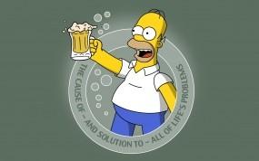 Обои Гомер с пивом: Симпсоны, Гомер, Пиво, Реклама, Мультфильмы