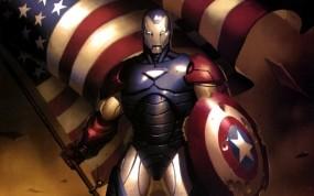 Обои Железный человек - Капитан америка: Железный человек, Капитан Америка, Гражданская война, Мультфильмы
