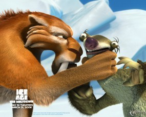 Обои Диего душит Сида: Ледниковый период, Мультфильмы