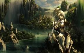 Обои Lineage 2: Горы, Город, Девушка, Водопад, Воин, Игры