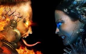 Обои Blood Magic: Огонь, Лёд, Девушки, Blood magic, Игры