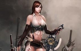 Обои Divine Souls: Девушка, Воин, Меч, Divine souls, Игры