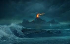 Обои Risen: Горы, Волны, Огонь, Лодка, risen, Игры