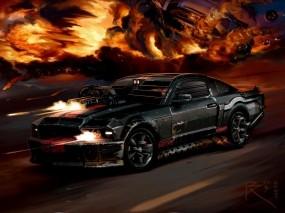 Обои Death Race Mustang: Машина, Огонь, Стрельба, Игра, взрывы, Игры