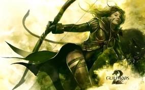 Обои Guild Wars 2: Девушка, Лук, Воин, Игра, Guild wars 2, Игры