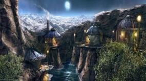 Обои Myst 4: Река, Горы, Луна, Деревня, Myst 4, Игры