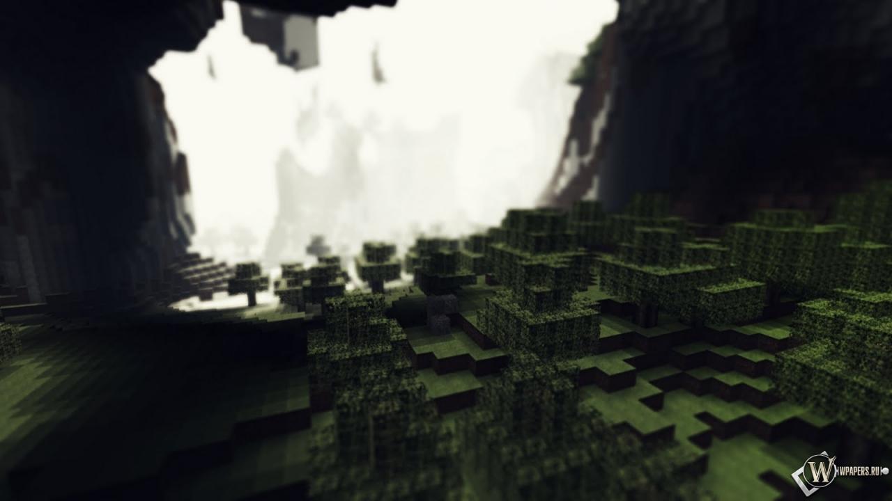Лес в пещере Minecraft 1280x720