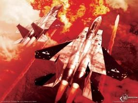 Обои Ace Combat: Война, Атака, Ракеты, Взрыв, Ace Combat