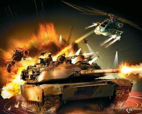 Обои Battlefield 2: Вертолет, Танк, Battlefield, Battlefield