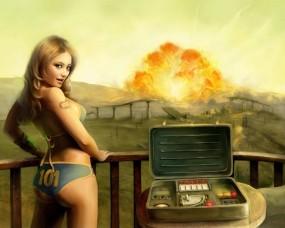 Обои Fallout 3: Девушка, Взрыв, Fallout, Fallout