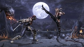 Обои Битва: Мост, Луна, Скорпион, Мечи, Соня, Mortal Kombat