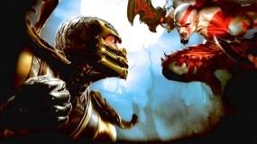 Обои Mortal Kombat: Скорпион, Кратос, Mortal Kombat, MK, Scorpion, Mortal Kombat
