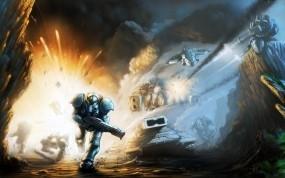 Обои Starcraft 2: Взрыв, Оружие, StarCraft, Пушки, Танки, Пехотинец, StarCraft