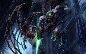Обои StarCraft 2: Монстр, StarCraft, Бой, Сара Керриган, StarCraft