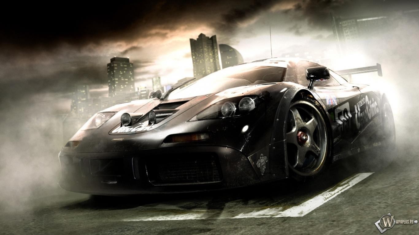 Auto Video Games >> Скачать обои Grid (Дым, Здания, Чёрное авто) для рабочего стола 1366х768 (16:9) бесплатно ...