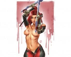 Обои Blood Rain: Грудь, BloodRayne, Вампирша, Девушки из игр