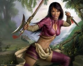 Обои Jade Empire: Азиатка, Телка, Jade Empire, Клинки, Девушки из игр