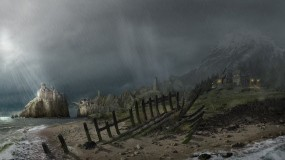 Обои Arcania: Gothic 4: Дождь, Берег, Замок, Готика, Arcania, Другие игры