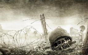 Обои Resistance: Fall of Man: Колючая проволка, Череп, Поле боя, Resistance, Другие игры