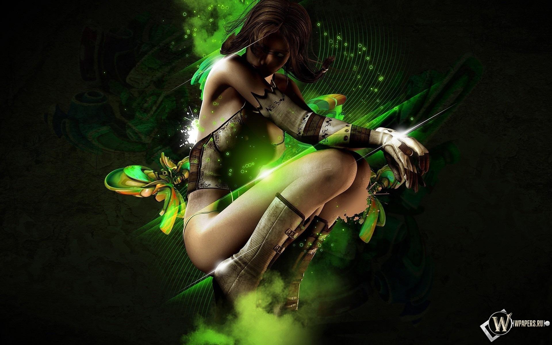 3D девушка на зелёном фоне 1920x1200