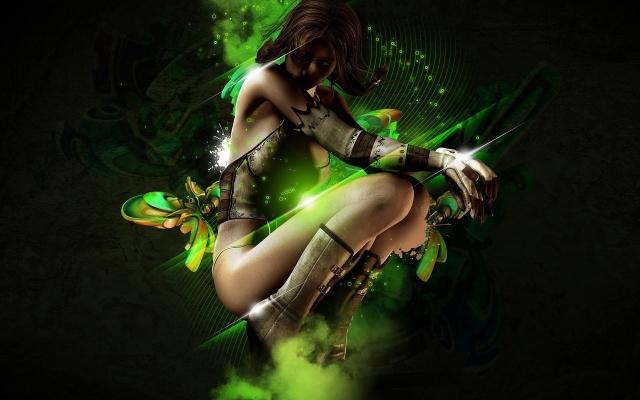 3D девушка на зелёном фоне