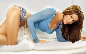Обои 3D девушка на кровати: Трусики, Кровать, Телка, Wallpapers, 3D Девушки