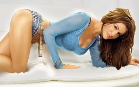 3D девушка на кровати