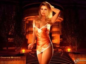 Обои Deanna Brooks: Огни, Богиня, Храм, Колонны, Deanna Brooks, Девушки